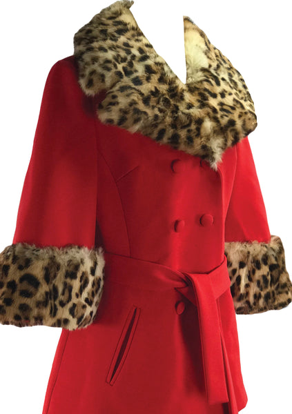 1960s Lilli Ann Red Cape Suit with Fur Trim- New!