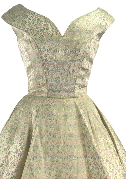1950s Designer Golden Brocade Wedding Party Dress - New! (Layaway)