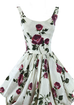 Stunning 1950s Sculptured Magenta Roses Cocktail Dress- New!