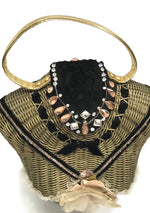 Vintage 1950s Wicker Figural Bustier Purse - New! (ON HOLD)