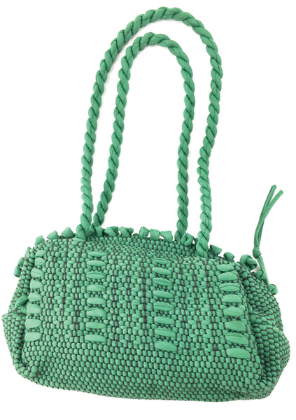 Vintage 1940s Green Cord Woven Purse - New!
