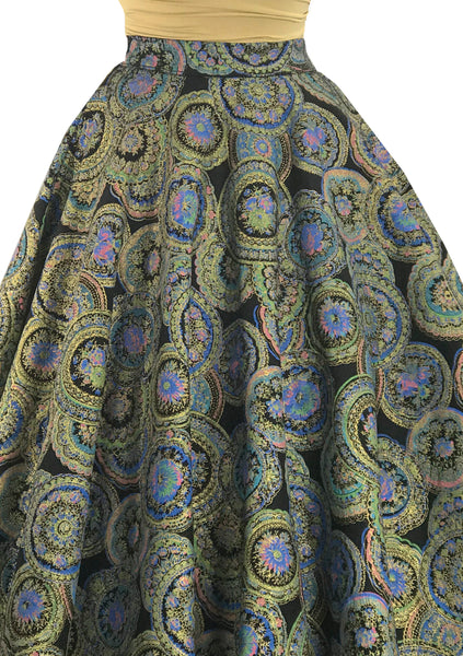 1950s Hand Painted Medallion Print Felt Skirt  - New! (On Hold)