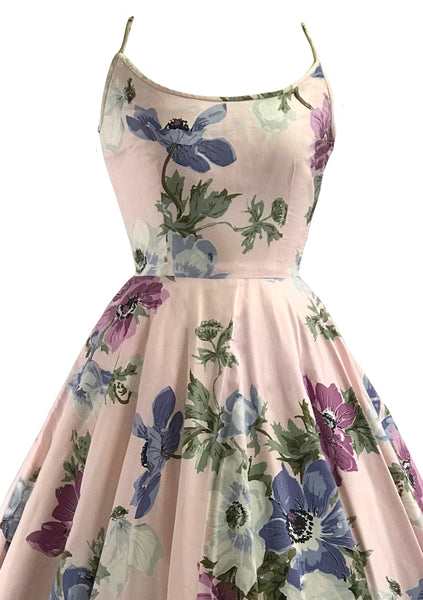 Vintage 1950s Pink Floral Polished Cotton Sundress- New!