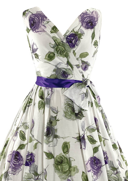 Beautiful Late 1950s to Early 1960s Lavender Roses Cotton Designer Dress- New!