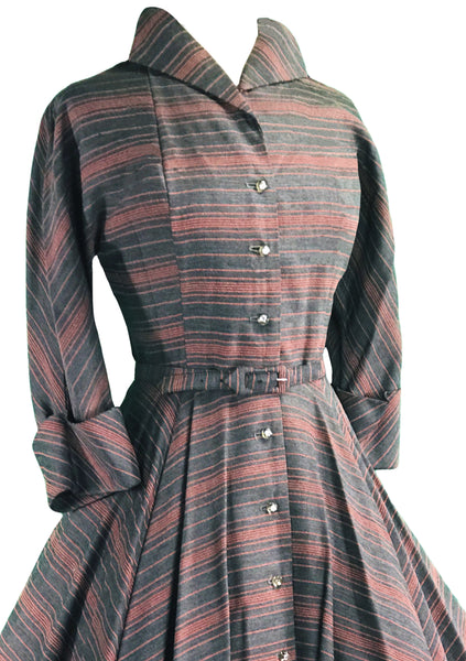 Late 1940s Early 1950s Grey & Pink Chevron Stripe Dress- New!
