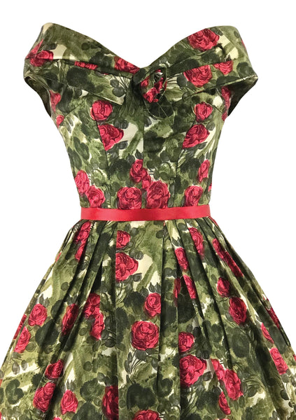 1950s Red Roses and Green Leaves Silk Blend Dress- New!