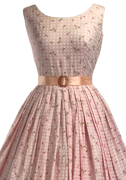 Late 1950s Pink & White Checks and Rosebuds Cotton Dress- New!