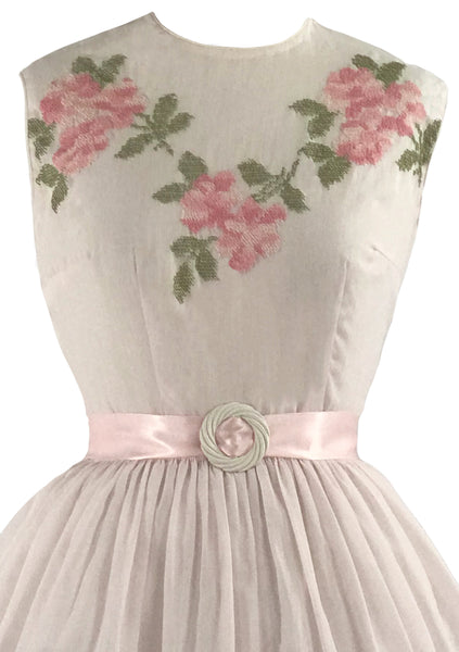 Late 1950s Roses Embroidered Pink Cotton Dress - New!