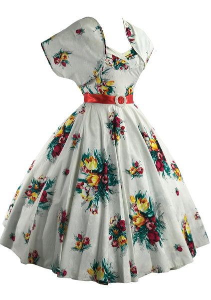 Vintage 1950s Tulip Print Dress & Bolero- New! (RESERVED)
