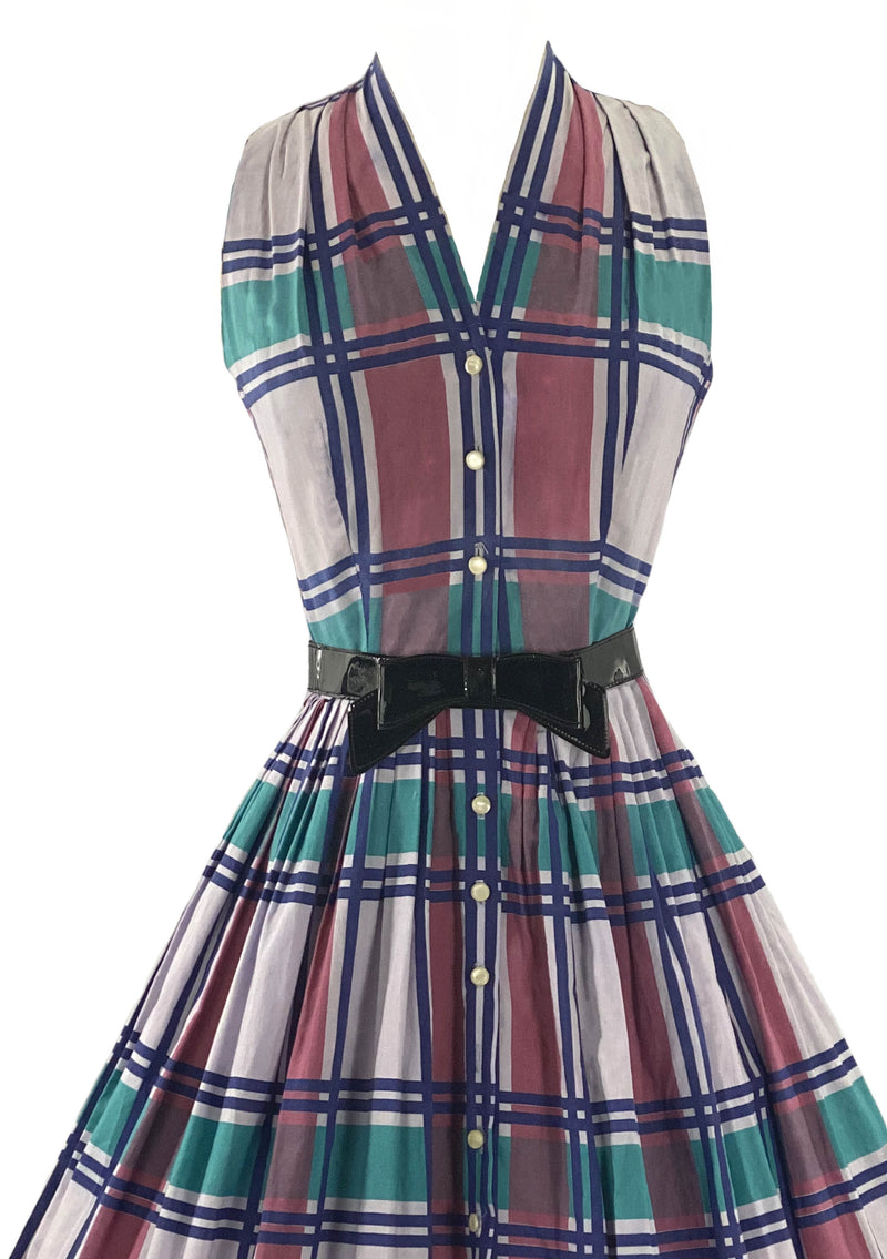 Late 1950s Plaid Cotton Dress by Henry Rosenfeld- New!