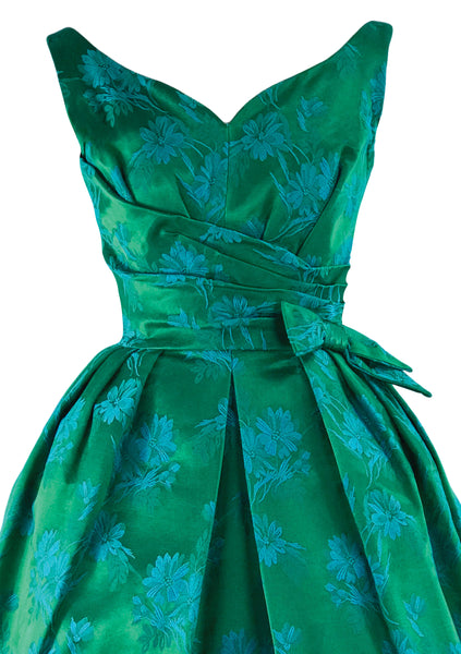 Late 1950s Early 1960s Green Floral Brocade Party Dress- New!