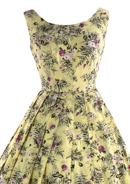 1950s Creamy Buttercup Yellow Cotton Dress with Rose Print- New!