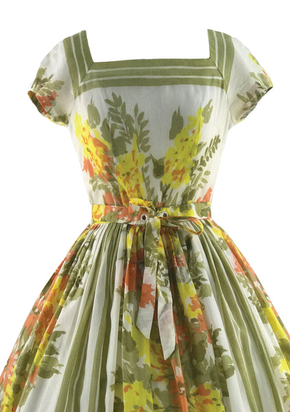 1950s Yellow and Green Floral Jerry Gilden Dress - New!