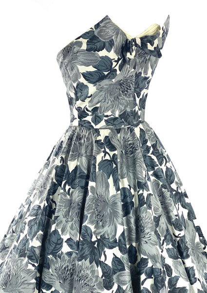 Stylish 1950s Strapless Gray Floral Cotton Cocktail Dress- New!
