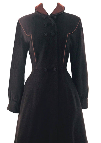 Gorgeous 1940s Chocolate Brown Wool Coat - New!