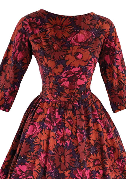 Vintage Late 1950s Early 1960s Magenta & Purple Floral Dress- New!