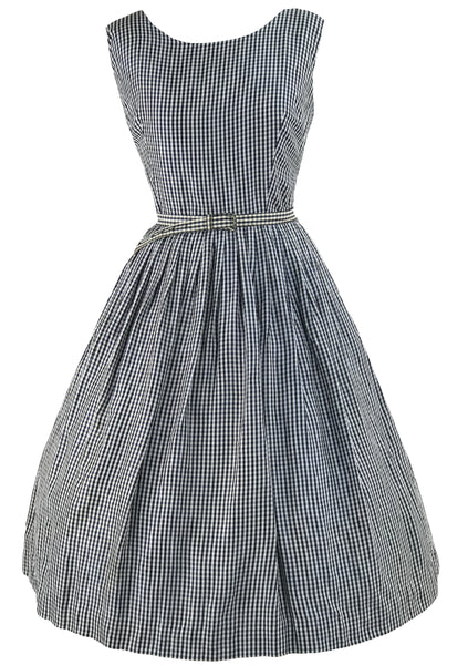 Vintage 1950s Navy & White Gingham Dress Ensemble- New!