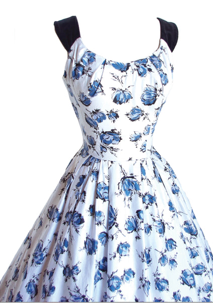 Vintage 1950's Blue Roses Print Dress- New!
