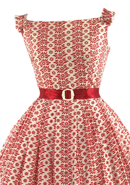 Vintage 1950s Red & White Eyelet Dress- New!
