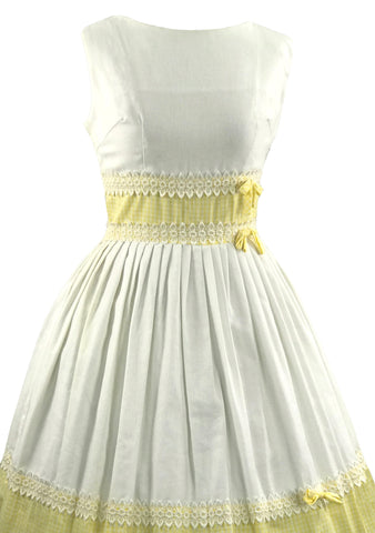 Deadstock 1950s Yellow and White Gingham Cotton Dress- New!