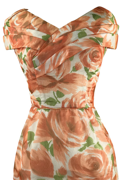 Late 1950s to Early 1960s Orange Roses Wiggle Dress - New!