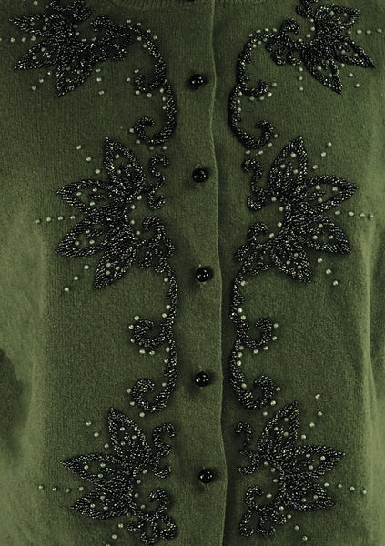 Vintage 1950s Olive Wool Beaded Cardigan - New!