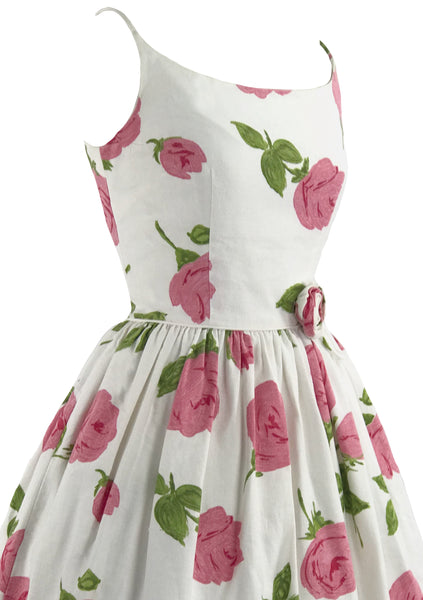 Vintage 1950s Pink Roses Pique Cotton Sundress- New! (ON HOLD)