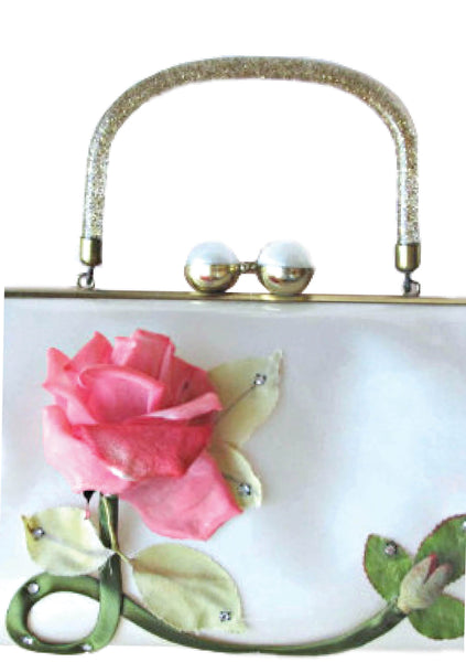 Vintage 1950s Pink Rose Applique Handbag - New! (Layby)