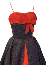 Late 1950s to Early 1960s Red & Blue Taffeta Dress- New!