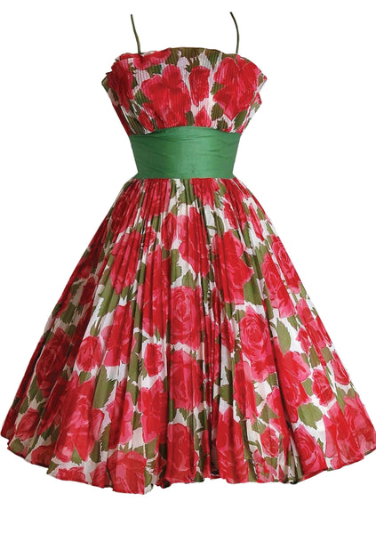 Early 1960's Red & White Roses Print Cotton Party Dress - New!