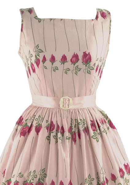 Vintage 1950s Pink Long Stem Roses Cotton Dress- New!