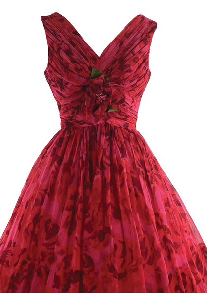 Stunning 1950s Red Rose Organza 3D Party Dress - New!