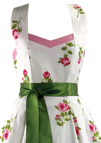 Vintage 1950s Pink Roses White Cotton Sun Dress  - New!