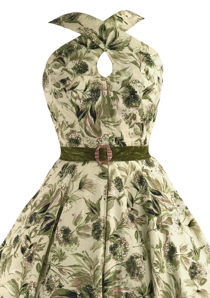 Vintage 1950s Cross-Over Neckline Floral Dress - New!
