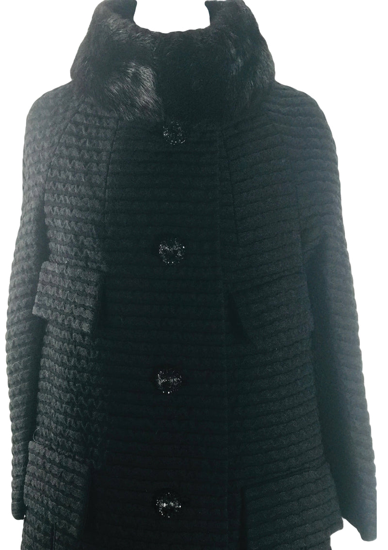 Quality Early 1960s Black Lilli Ann Designer Ribbed Coat - New!
