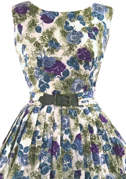 Vintage 1950s Purple & Blue Rose Print Dress- New!