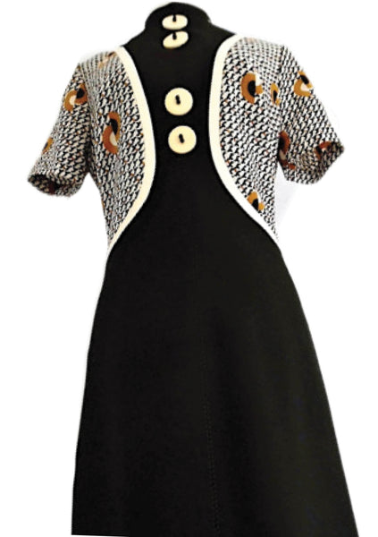 1960s Designer Black, Brown & Cream Space Age Dress  - New!