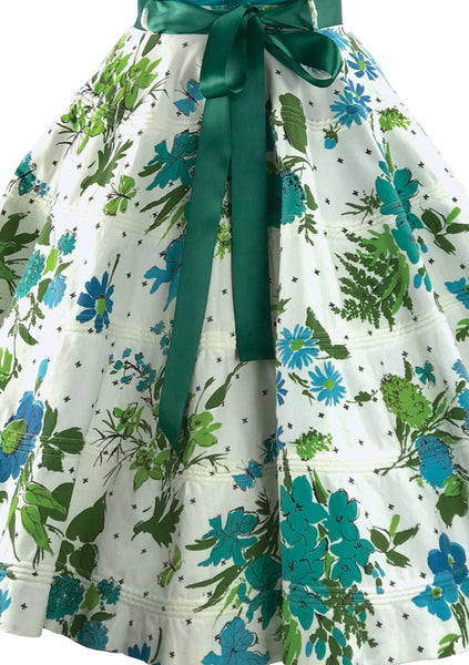 Vintage 1950s Floral Corded Cotton Skirt- New!