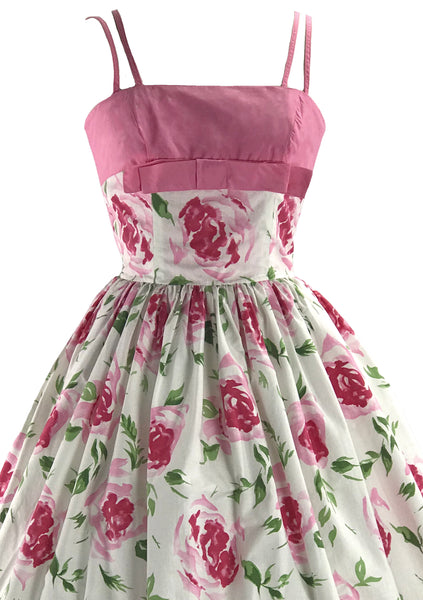 Gorgeous 1950s Pink Roses Horrockses Designer Dress- New!