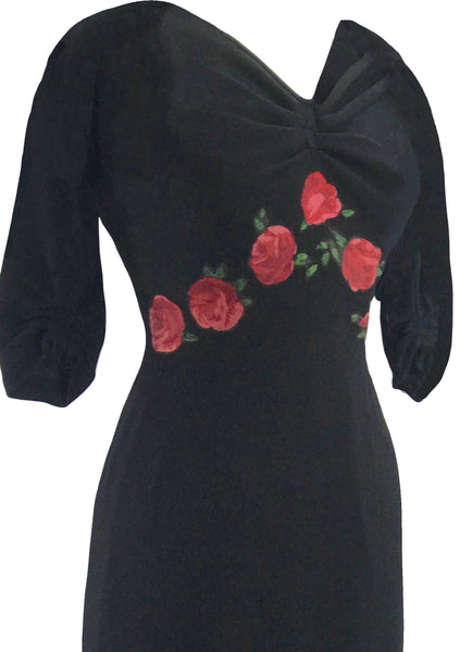 Vintage 1950s Designer Black Wool Jersey Dress with Rose Appliques- New!