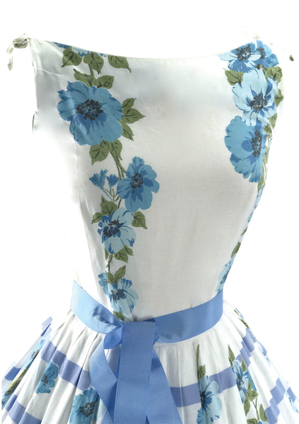 1950's Blue & White Floral Border Print Cotton Dress - New!