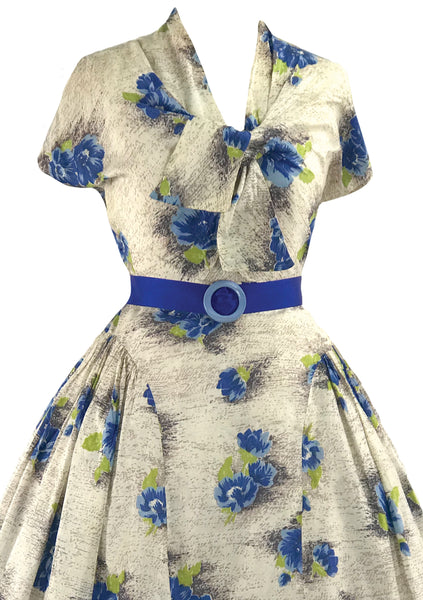 Vintage 1950s Blue Floral Silk Blend Dress - New! (ON HOLD)