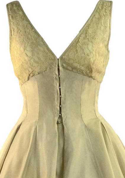 1950s Gold Silk Taffeta Designer Party Dress Ensemble  - New!