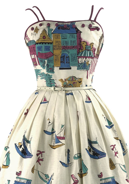 RARE 1950s English Seaside Novelty Print Dress- New! (RESERVED)