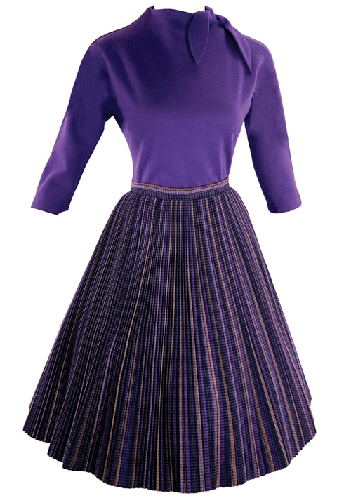 Stylish Designer 1950s Purple Wool Top and Skirt Set- New!