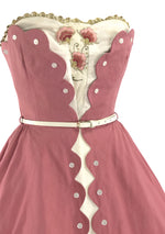 50s Rose Pink Dress Ensemble with Applique- New!