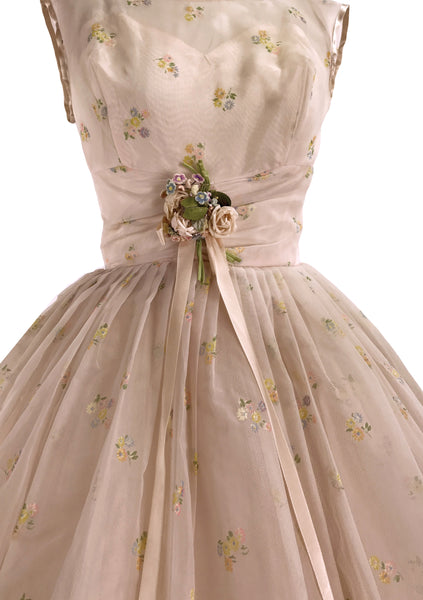 Original 1950s Peach Pink Flocked Floral Chiffon Party Dress - New!