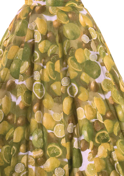 1950s Lemons & Limes Novelty Print Skirt  - New!