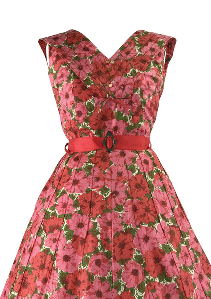 Vintage 1950s Pink & Rose Floral Cotton Dress- New!