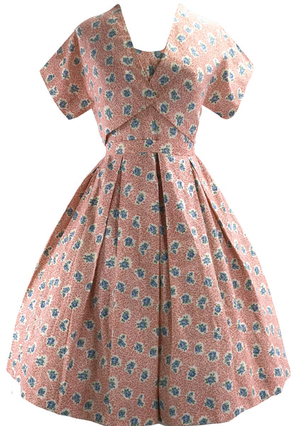 Vintage 1950s Pink Floral Cotton Dress Ensemble- New!